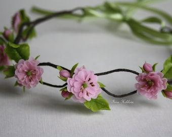 Flower crown, Cherry Blossoms, Wedding flower crown, Bridal flower crown, Wedding hair wreath, Floral headband