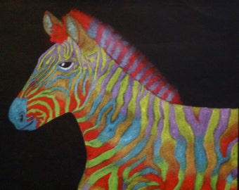 Multi-colored, Rainbow Zebra, Original Pastel Drawing