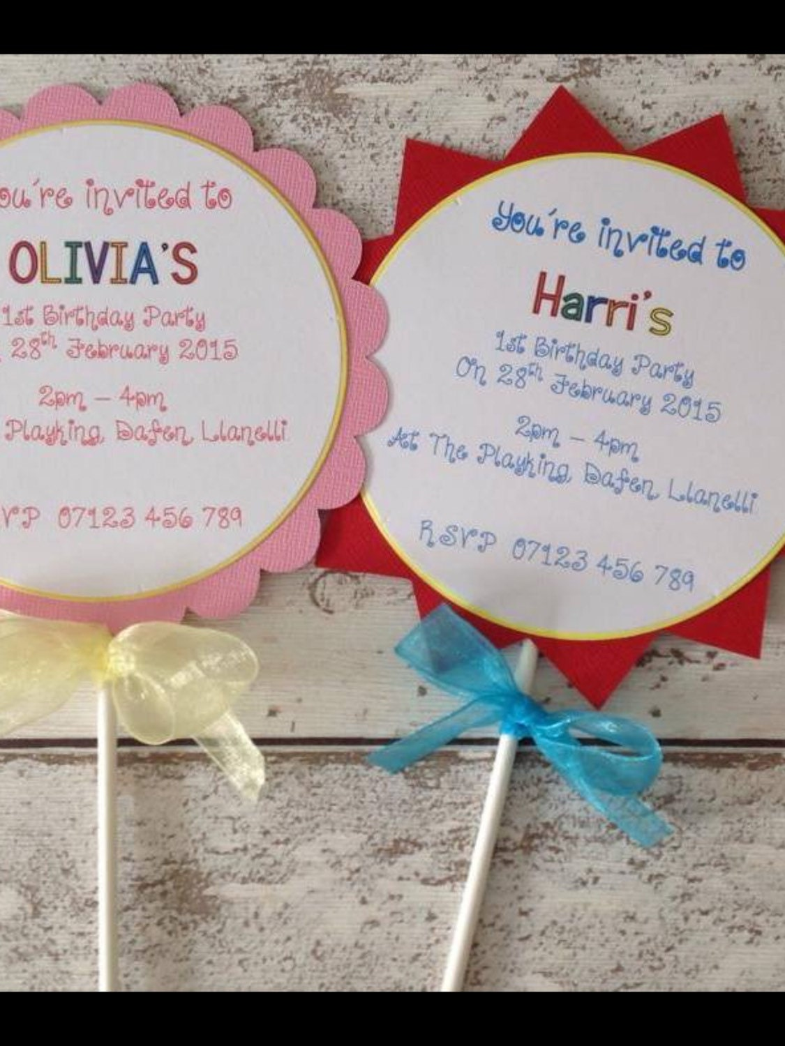 Personalised Children\'s party invitations price for 10. Lollipop ...