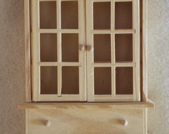 miniature pine cupboard hutch unfinished detailed dollhouse, shadowbox,shelves, assemblage, wood