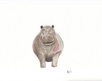 Hippopotamus Watercolour Print