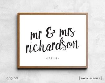 Personalised Wedding present, Wedding wall art decor, Wedding Printable Wedding Wall Art Anniversary Art Print Engagement, Wedding Gift