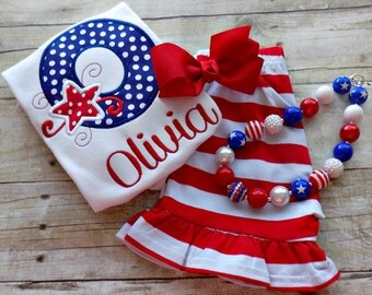Girls 4th of July Outfit, Toddlers Fourth of July Outfit, Patrioitic Letters,  Toddlers Summer outfit, Appliqued, Embroidered, Personalized,