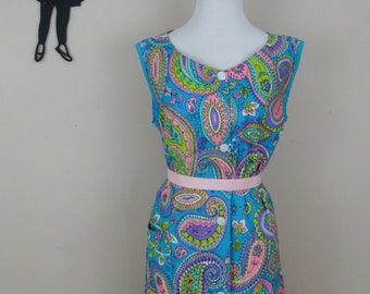 Vintage 1960's House Dress / 60s Paisley Button Up Dress XL/XXL