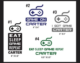 Peronalized Gaming Decals - Your choice of colour and sticker layout option.  Set of TWO stickers.