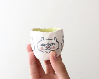 Ceramic cat vase / pinch pot - cats faces