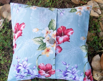 Flower Pillow Covers 16x16- Set of Two Tropical Pillows Decorative Throw Pillow Covers Button Pillow Envelope Pillow Covers Made in Hawaii