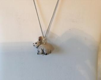 "Ceramic White Bunny Rabbit Pendant Necklace 18"""