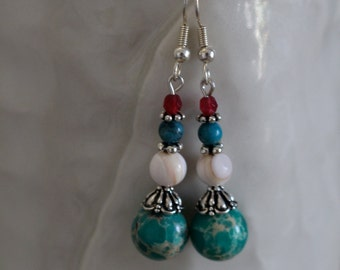 Beautiful Wintergreen Impression Jasper Earrings