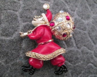 RARE>> Signed Hollycraft red SANTA pin>>New Old Stock, never worn>>Vintage 1950's