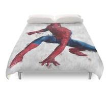 Spiderman Duvet Cover, Hero Character, Marvel Comics, Avengers Print, Geek Bedding Art, Teens Gift Decor, Children Beds, Full Queen King