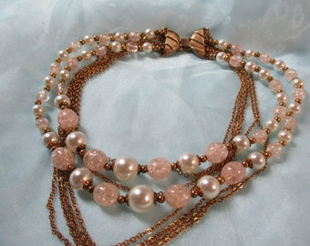 Pretty White and Pink Beaded Necklace with Gold Toned Chain