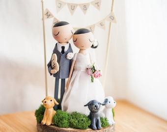 Rustique gâteaux de mariage, Cake Topper, Topper en bois, poupée Peg en bois, cadeau de mariage personnalisé, gâteaux de mariage Boho