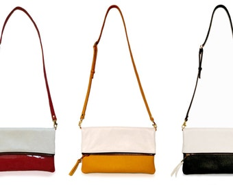 Removable strap Foldover crossbody bag, Two tone mixed leather red patent leather and smooth white lamb
