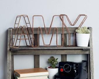 Lettre de l'Alphabet - initiales - cuivre Home Decor - personnalisé du foyer - fil lettres - lettres de cuivre - cuivre cadeaux - métallique en cuivre