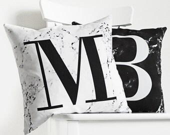 Marble print alphabet monogram cushion cover - White marble, marble home decor, marble decor, marbled