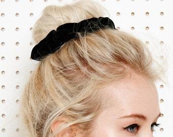 90s style super soft black velvet scrunchie