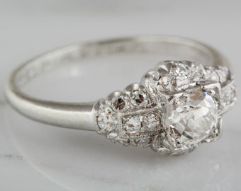 Antique Platinum Edwardian Engagement Ring with an Old Mine Cut Diamond Center and Twenty Single Cut Diamond Accents R773