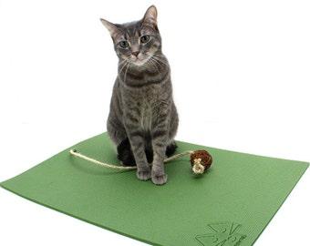 Cat Scratcher - made from Traditional Yoga Mat Material - Vertical Scratcher-Twine Ball Catnip Toy attached - Feline Yogi Yoga Cat Mat
