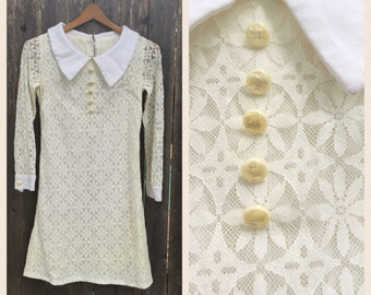 VINTAGE 60's Lace Collared // Sheer Long Sleeve // Mini Dress