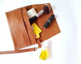 Handmade Leather Wristlet/Clutch
