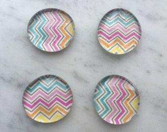 Rainbow Chevron Glass Magnets