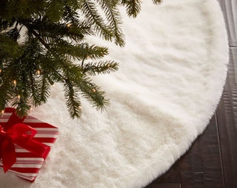 luxe faux fur christmas tree skirt - White Christmas Tree Skirts