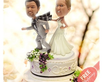 Funny wedding cake topper Bride and groom cake toppers Wedding topper Personalised cake topper Unique wedding cake topper Custom cake topper