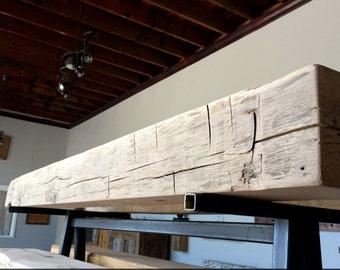 "68"" Mantel: Antique Oak Reclaimed Wood, Hand Hewn, unfinished"