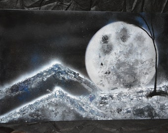 Spray Paint Art 14x22 - Mountain Moon!
