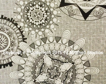 Skyburst #1 - Limited Edition Print of Original Zentangle/Zendoodle by TJ Mitchell Studios