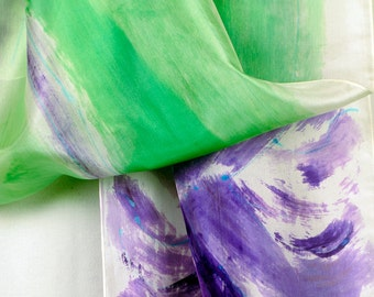 Minty Hand painted silk scarf. Lightweight scarf/ Green violet shawl/ Spring blossom scarf. Luxurious silk scarf. Abstract painting on silk