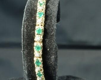 Emerald and Diamond Tennis Bracelet