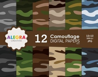 Camouflage Digital Paper Pack, Instant Download, Camo Scrapbook Paper