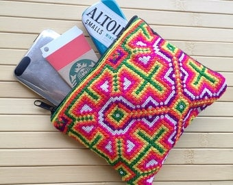 Small Gadget iPod zipper pouch made from Thai Vintage Hmong Hilltribe embroidery, organizer, coins, thai handbags, makeup case