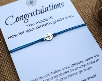 Graduation Gift Compass Bracelet College Graduation Card Follow your Dreams Card High School Graduation Gift for Him or Her Wishing Bracelet