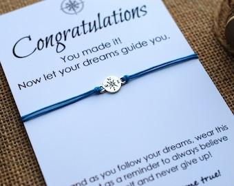 Graduation Gift Compass Bracelet College Graduation Card Follow your Dreams Card High School Graduation Gift for Him or Her Wishing Bracelet