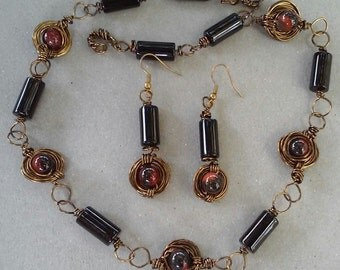 "Handmade Bloodstone Necklace Set-  Tube Bead, Bronze, Design, Collared Necklace (19"")/Earrings (1.75"")"