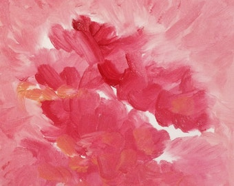 Pink flower- 富貴紅 small oil painting
