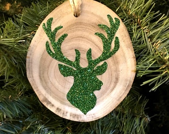 Christmas Green Deer Head with Antlers Silhouette Christmas Ornament