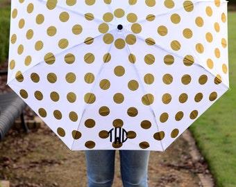 Monogram polka dot umbrella, Personalized umbrella, polka dots, solids and stripes