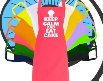 Adults Keep Calm And Eat Cake Printed Apron - Kitchen Aprons - Enthusiast Hobby Gift Cook Cooking Dink Drinking Present
