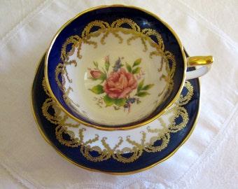 Aynsley Cobalt Blue Pink Rose English Bone China Tea Cup and Saucer Pattern No. 2146