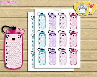 Weekly Hydrate Tracker kawaii Planner Stickers bottle, Side bar Printable Planner Stickers for ...