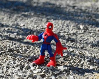 spiderman in gravel