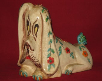 Basset Hound Coin Bank/Vintage Bank/Unique Ceramic Bank Italy