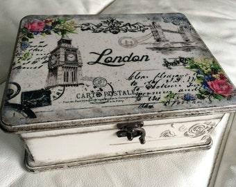 Tea box - black and white london tea time box...Tea storage...Tea organizer