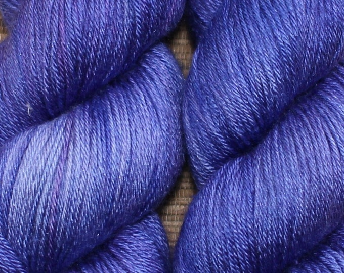 Hand dyed yarn - 100g Silk/Merino fingering weight in 'Purple Petunia' - With free cowl pattern