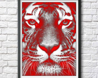 Tiger print poster photo tiger art original pop art print popart poster photograph