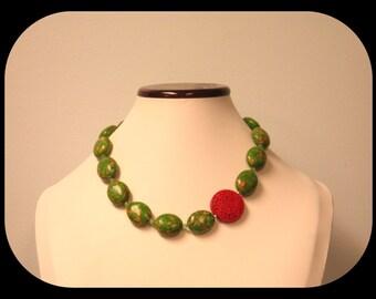 Handcrafted Genuine Mosaic Green Jasper & Carved Cinnabar Necklace